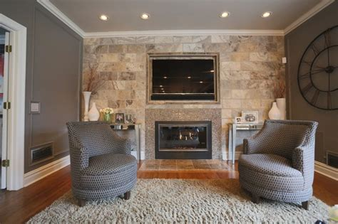 tile wall living room with embedded tv and fireplace