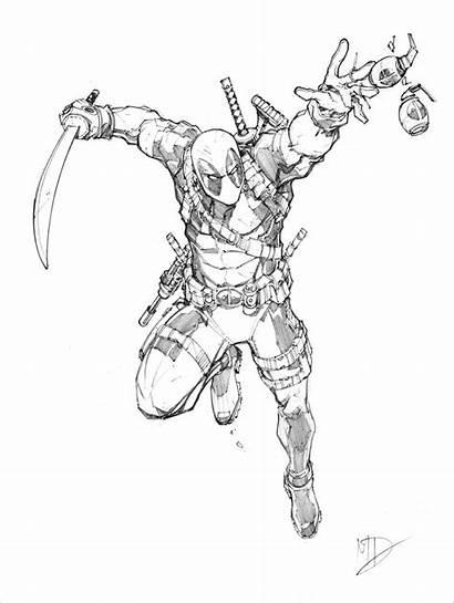Deadpool Sketch Dunbar Max Pencil Comic Drawing