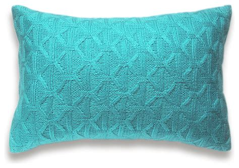 Decorative Outdoor Lumbar Pillows by Textured Wool Hand Knit Pillow Cover In Aqua Blue 12x18