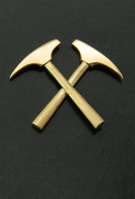 home design gold placer gold design crossed miner hammer lapel pin