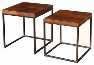 santa fe solid wood iron 2 nesting square end tables With two square coffee tables side by side