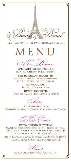 frenchparis themed wedding menu  pink  brown paris