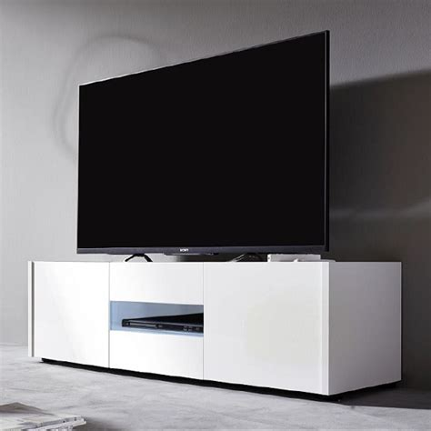 cannes lcd tv stand in white gloss with 3 doors and led