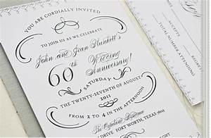 60th wedding anniversary party invitation black white With black and white wedding anniversary invitations