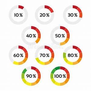 Set Of Ten Color Percentage Indicators Stock Vector