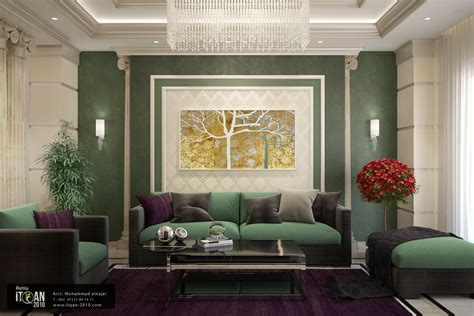 modern interior doors design تصميم نيو كلاسيك لصالة معيشة واستخدام اللون الاخضر