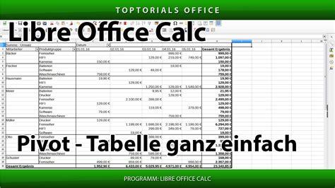 pivot tabelle erstellen libreoffice calc toptorials