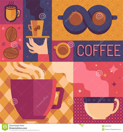 Vector Coffee Poster Template In Flat Retro Style Stock Vector   Image: 46470016