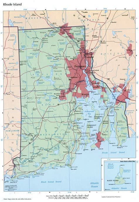 large detailed map  rhode island state