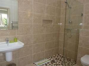 Brown bathroom marble effect walk in shower mosaic tiles for Marble bathroom tiles uk