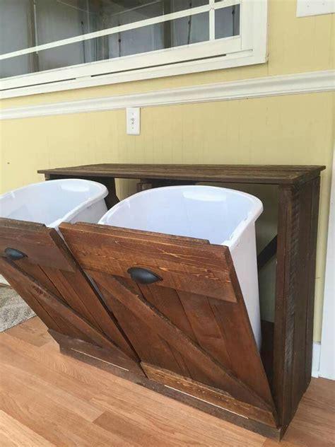 Reclaimed wood Trash / Recycling bin. Follow on Facebook
