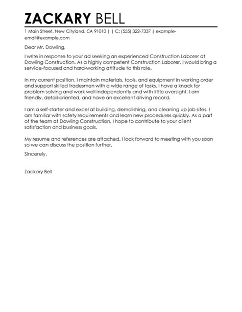 construction cover letter examples livecareer