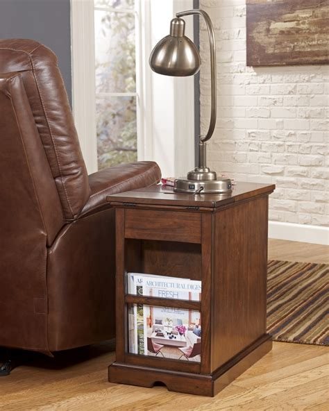 oak wood chairside end table with drawer and magazine rack
