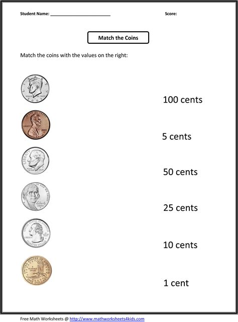 free 1st grade worksheets match the coins and its values projects to try first grade math