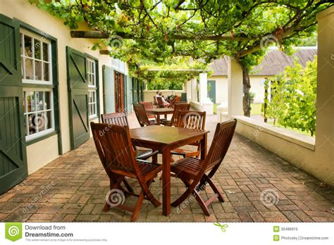 tables on terrace covered by grape vine royalty free stock