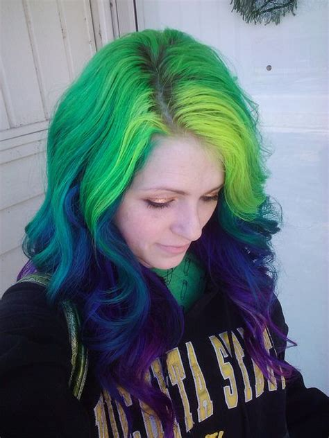 Green Blue And Purple Hair Hair Inspiration Pinterest