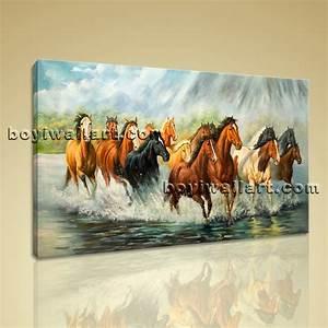Large Framed Artwork Giclee Print Group Horse Canvas Print