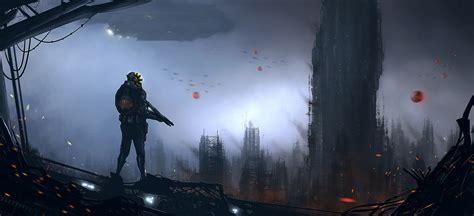 science fiction post apocaliptic war city landscape