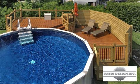 Patio With Above-ground Pool Like The Pool Steps