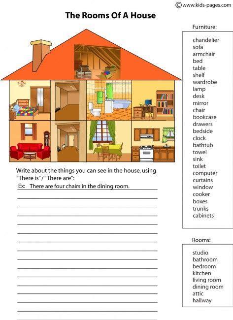 parts   house worksheets  kids english