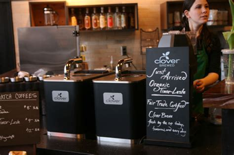 The clover is a very expensive machine and only widely available at starbucks but supposedly ritual coffee has a couple machines. Seattle: The Original Starbucks at Pike Place Market and Trying Clover-Brewed Coffee   Serious Eats