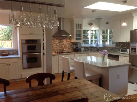 contemporary white kitchen  open floor plan