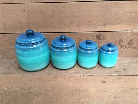 turquoise kitchen canisters one turquoise ómbre kitchen canister ombre gradient shades