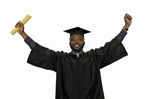 Certificate Of Accomplishment Black Man Graduate Stock Photo Image Of Educated African