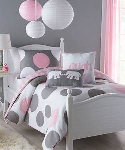 Pink & Gray Pink Parade Full Comforter 3-Piece Set (great