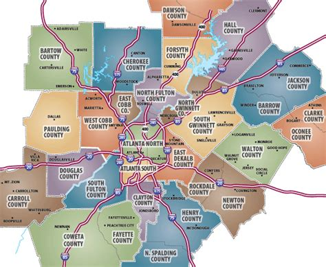 map  atlanta  surrounding cities  travel