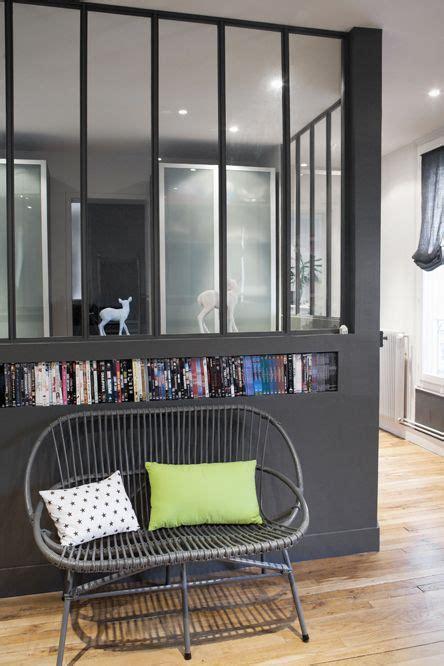 fenetre separation cuisine verrière atelier et niche pour les livres kitchen