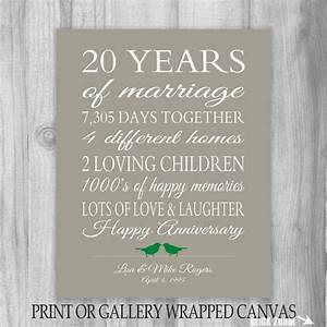 20 year anniversary gift 20th anniversary art print With 20th wedding anniversary gift for husband