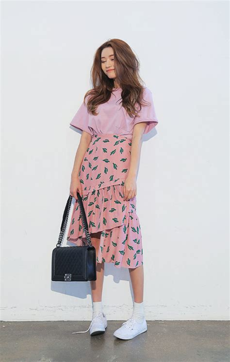stylenanda cactus print tiered skirt kstylick latest