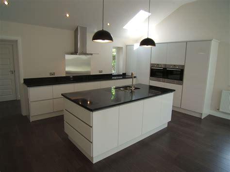 contemporary kitchen islands nerosupreme granite on contemporary white handless