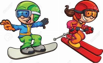Cartoon Clipart Skiing Clip Snowboarding Illustration Clipartmag