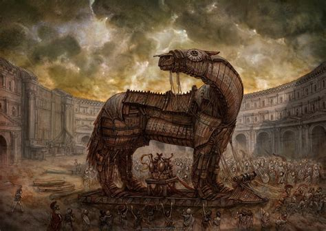 workers mongols ancient  horse building clouds artwork