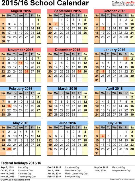 school calendar template school calendars 2015 2016 as free printable word templates