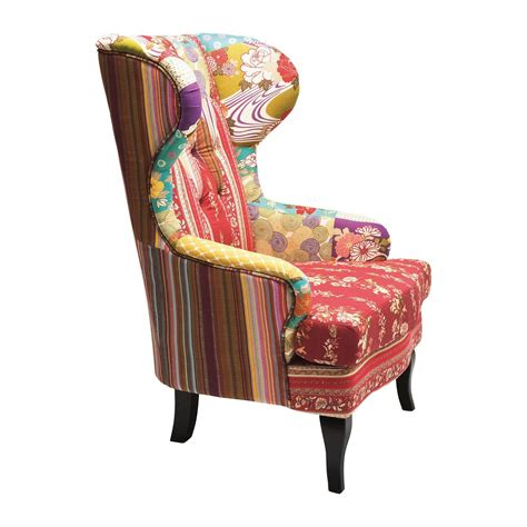 fauteuil a oreilles traditionnel rouge wing patchwork