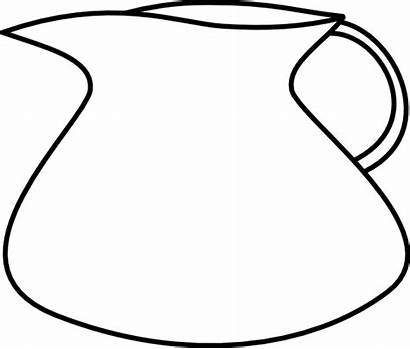 Jug Pitcher Clip Water Clipart Blank Outline