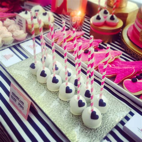 pink sweets table cake pops shoe cookies kate spade