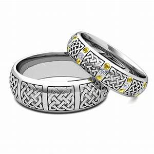 his hers matching wedding bands 14k gold celtic yellow With matching celtic wedding rings
