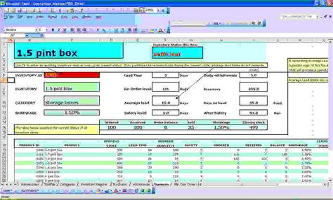 excel spreadsheet  inventory control templates