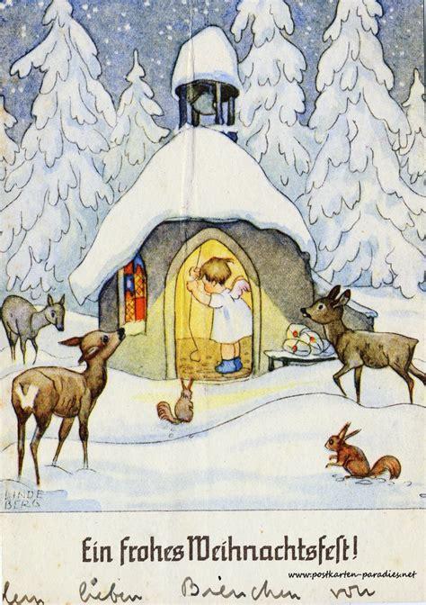 weihnachtskarten mit kindern und weihnachtsmann alte