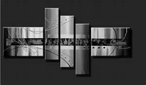 Tableau Plusieurs Panneaux : peinture en plusieurs panneaux noir gris m tal eva jekins ~ Teatrodelosmanantiales.com Idées de Décoration