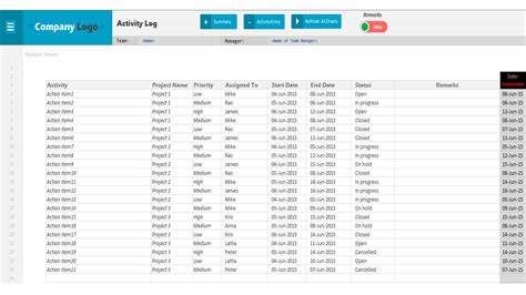 Project Activity Plan Template by Activity Log Excel Project Management Templates