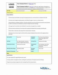 Executive assistant job description template by baytcom for Executive administrative assistant job description template
