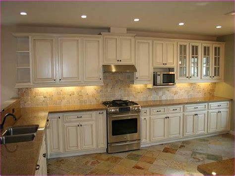 Distressed White Kitchen Cabinets Painting Kitchen