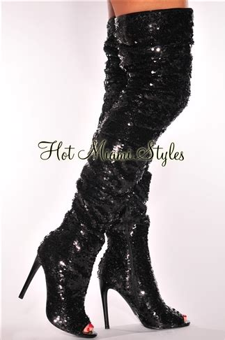black sequins ruched thigh high peep toe boots