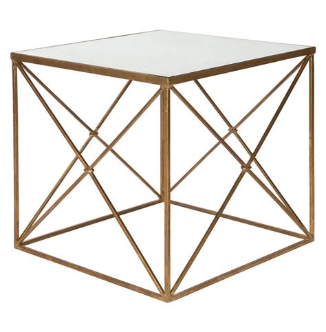 mirrored cube end table furano gold hollywood regency antique mirror cube side table