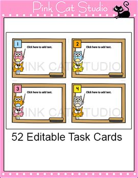 editable task cards template owl theme  pink cat
